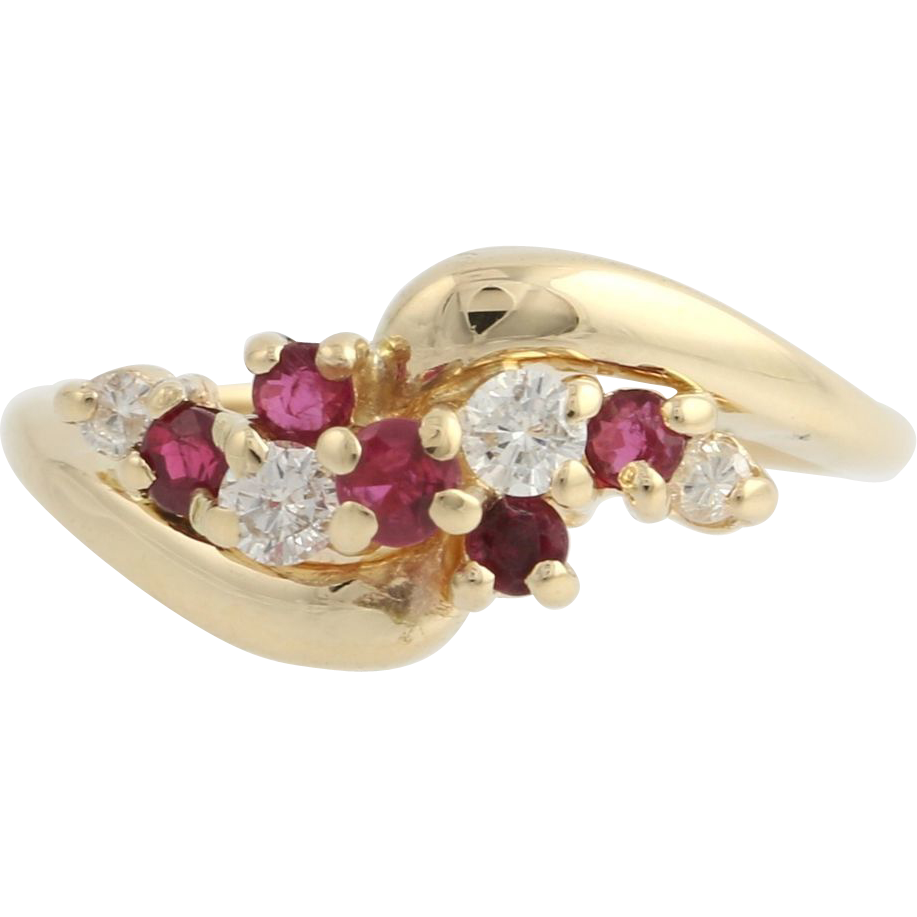 Ruby & Diamond Cocktail Ring - 14k Yellow Gold Women's Bypass Cluster Red Fine