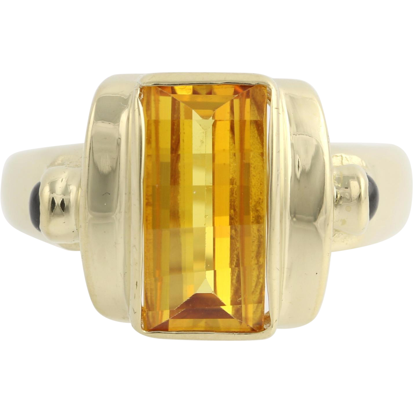 Synthetic Yellow Sapphire Cocktail Ring-14k Yellow Gold Sapphire Accents 3.36ctw