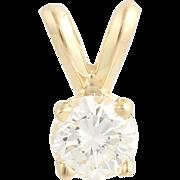 Diamond Solitaire Pendant - 14k Yellow Gold Women's .35ct Fine Estate Polished