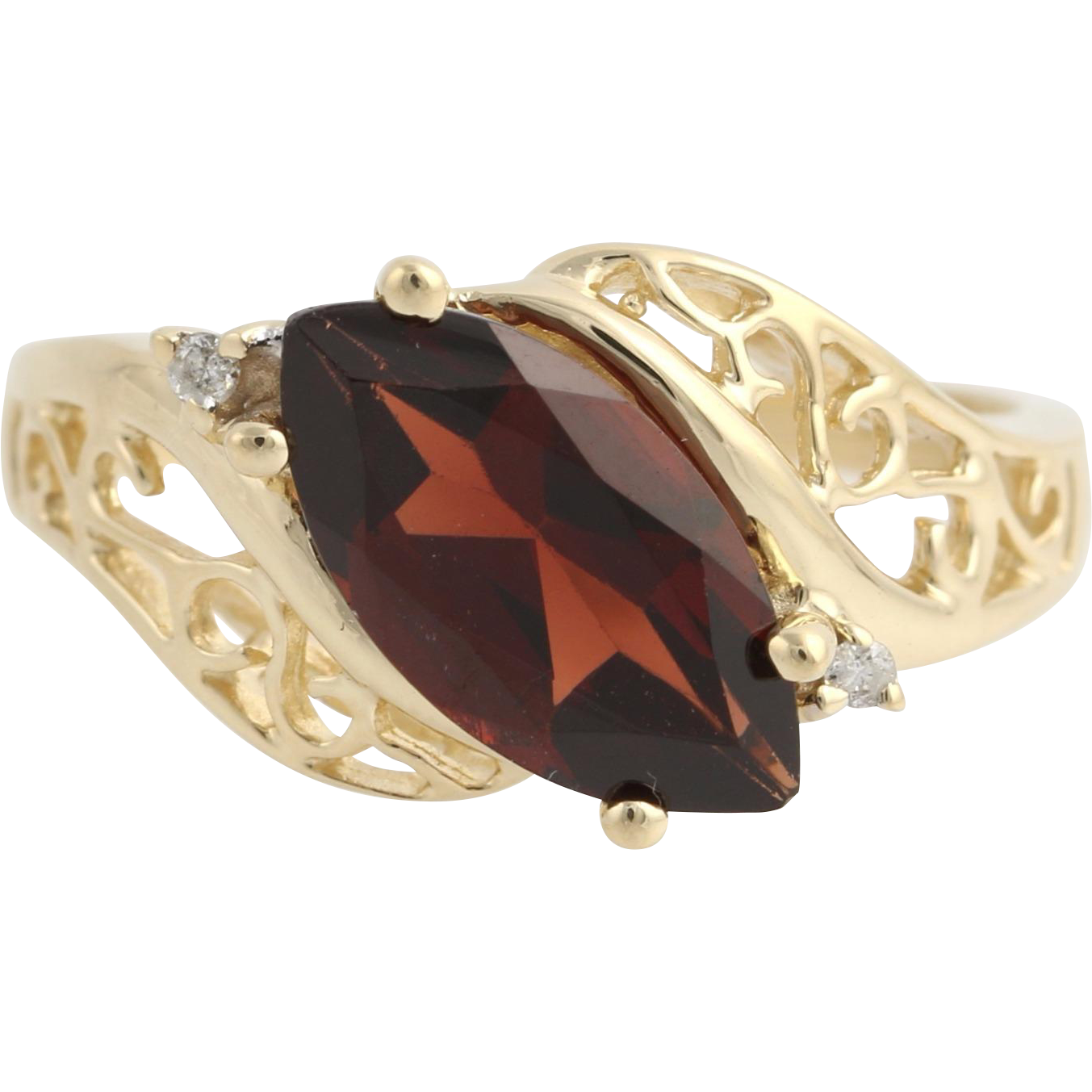 Garnet & Diamond Cocktail Bypass Ring - 10k Yellow Gold January Genuine 2.02ctw