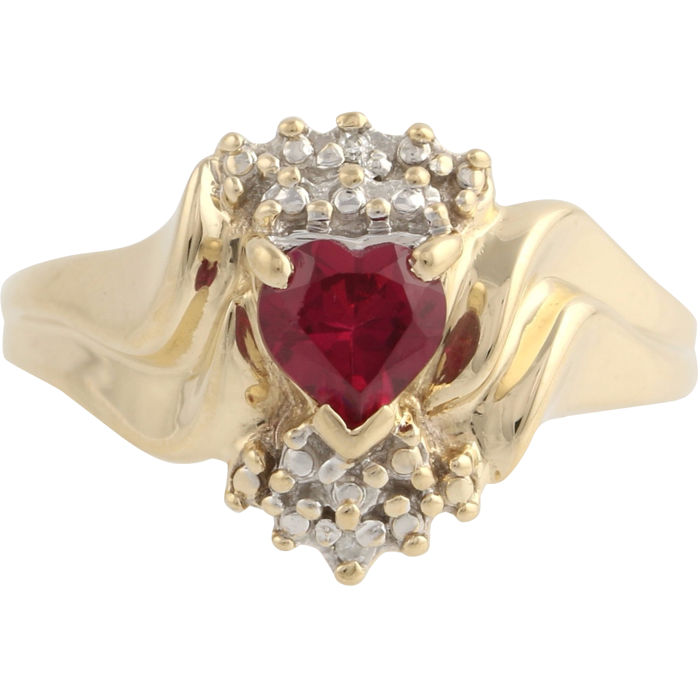 Synthetic Ruby Cocktail Ring- 10k Yellow & White Gold Diamond Accent Fine .50ctw