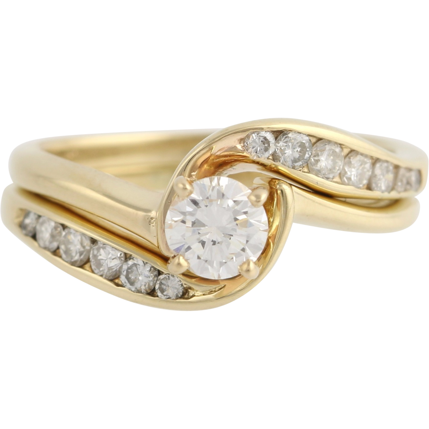 Diamond Engagement Ring & Wedding Band - 14k Yellow Gold Solitaire Bypass Estate