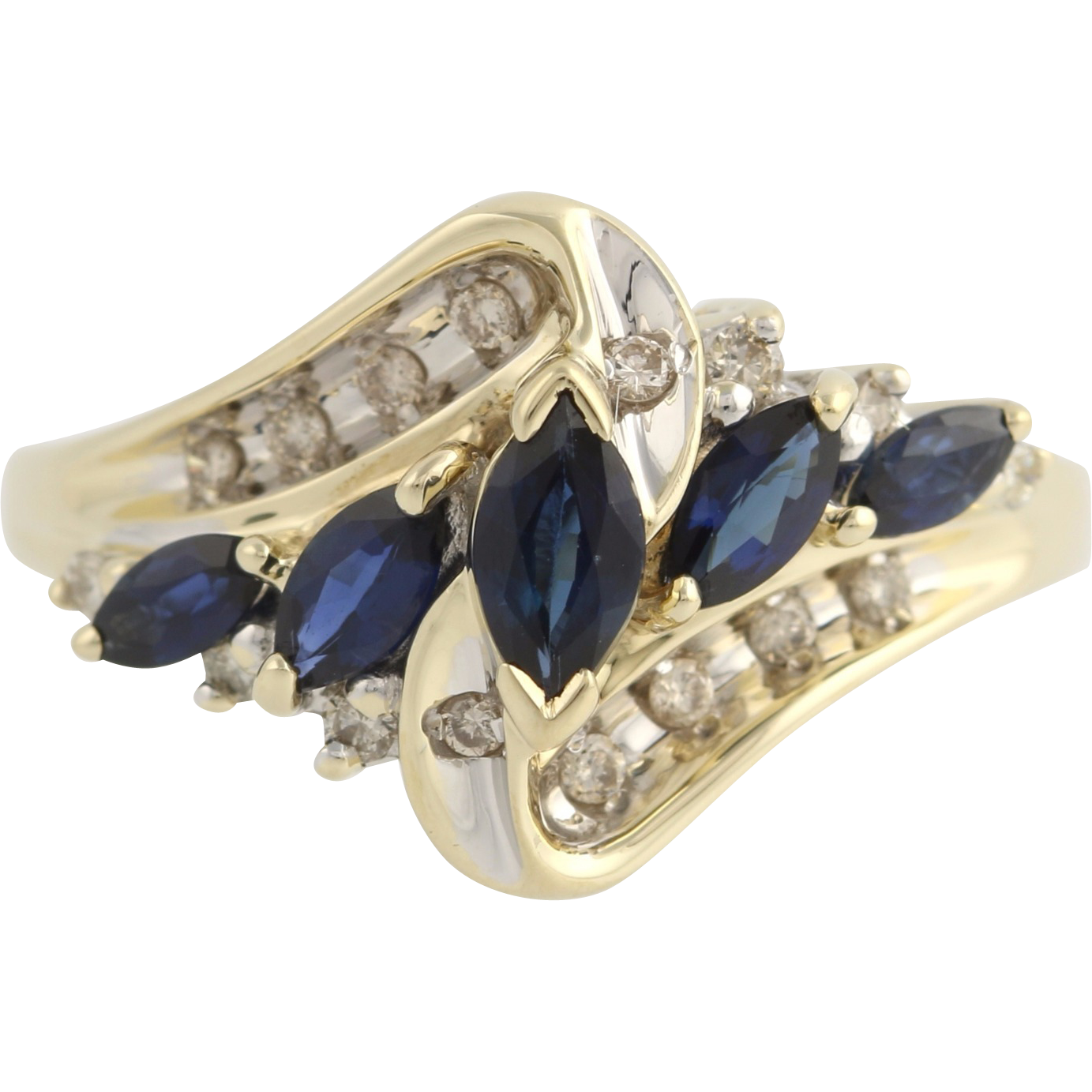 Synthetic Sapphire and Diamond Cocktail Ring- 10k Yellow & White Gold Fine 1.16ctw