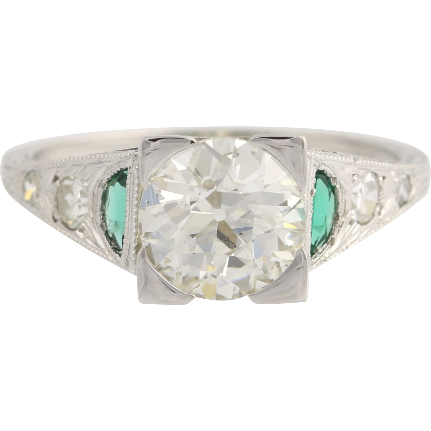 Art Deco Engagement Ring Diamond & Syn Emerald - 18k White Gold GIA Cert 1.57ctw