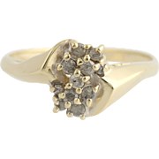Diamond Cluster Bypass Ring - 10k Yellow & White Gold Size 7 1/2 Genuine .25ctw