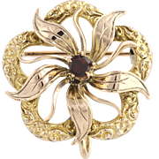 Edwardian Garnet Brooch / Pendant - 10k Yellow & Rose Gold Genuine .13ctw