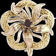 Edwardian Garnet Brooch / Pendant - 10k Yellow & Rose Gold Genuine .13ctw