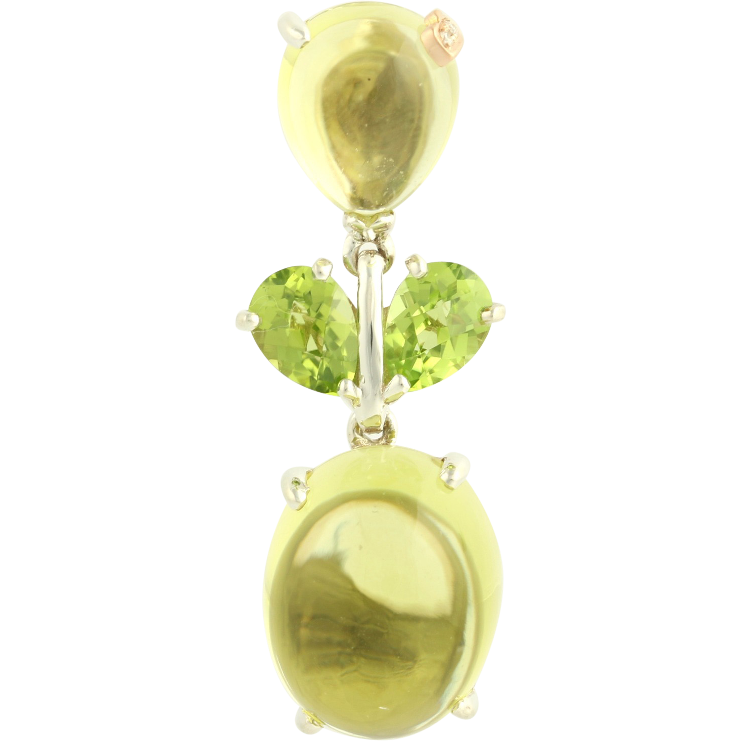 Lemon Quartz & Peridot Pendant - 18k Rose Gold Sterling Silver
