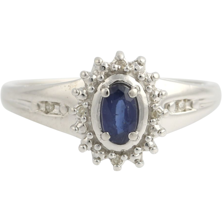 Sapphire & Diamond Cocktail Ring - 10k White Gold September 7 1/4 Genuine .42ctw