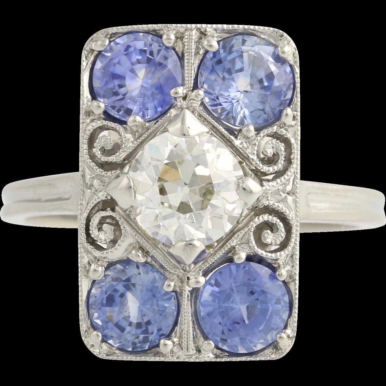 Sapphire & Diamond Cocktail Ring - Platinum Rectangular Women's Genuine 3.29ctw