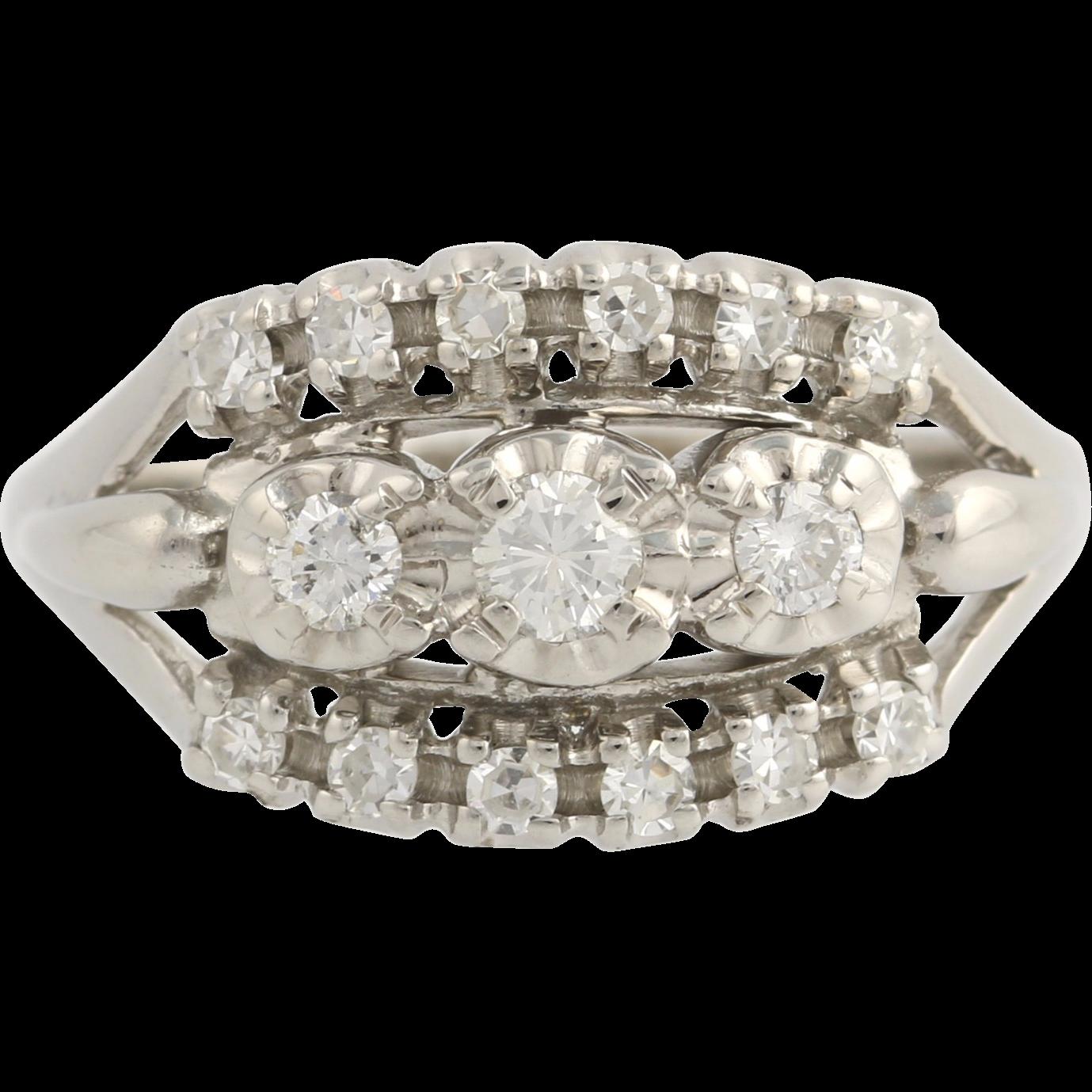 Vintage Diamond Cocktail Ring - 18k White Gold Women's 7 1/2 Genuine .47ctw