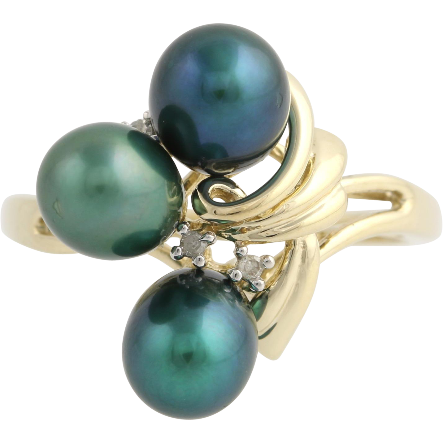 Dyed Cultured Pearl and Diamond Cocktail Ring- 10k Yellow & White Gold Fine .02ctw
