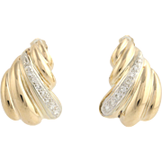 Curved Diamond Earrings - 14k Yellow Gold Fluted Ribbed Women's Natural .50ctw