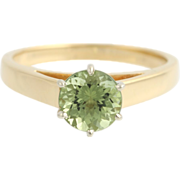 Green Tourmaline Solitaire Engagement Ring- 18k Yellow & White Gold Fine 1.14ctw