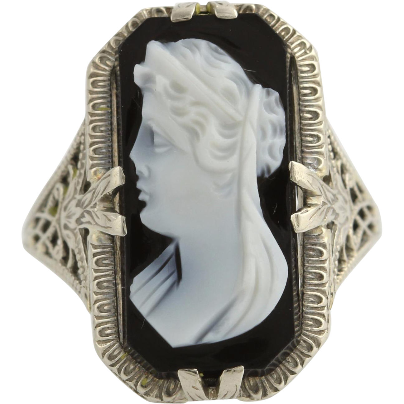 Art Deco Cameo Ring Carved Banded Agate Black & White - 14k White Gold Vintage