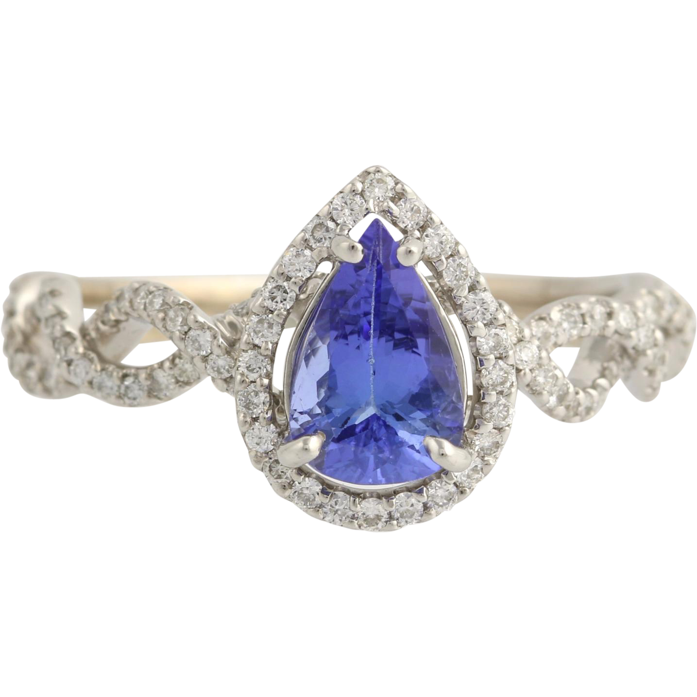 Tanzanite & Diamond Halo Cocktail Ring - 18k White Gold High Karat Fine 2.15ctw