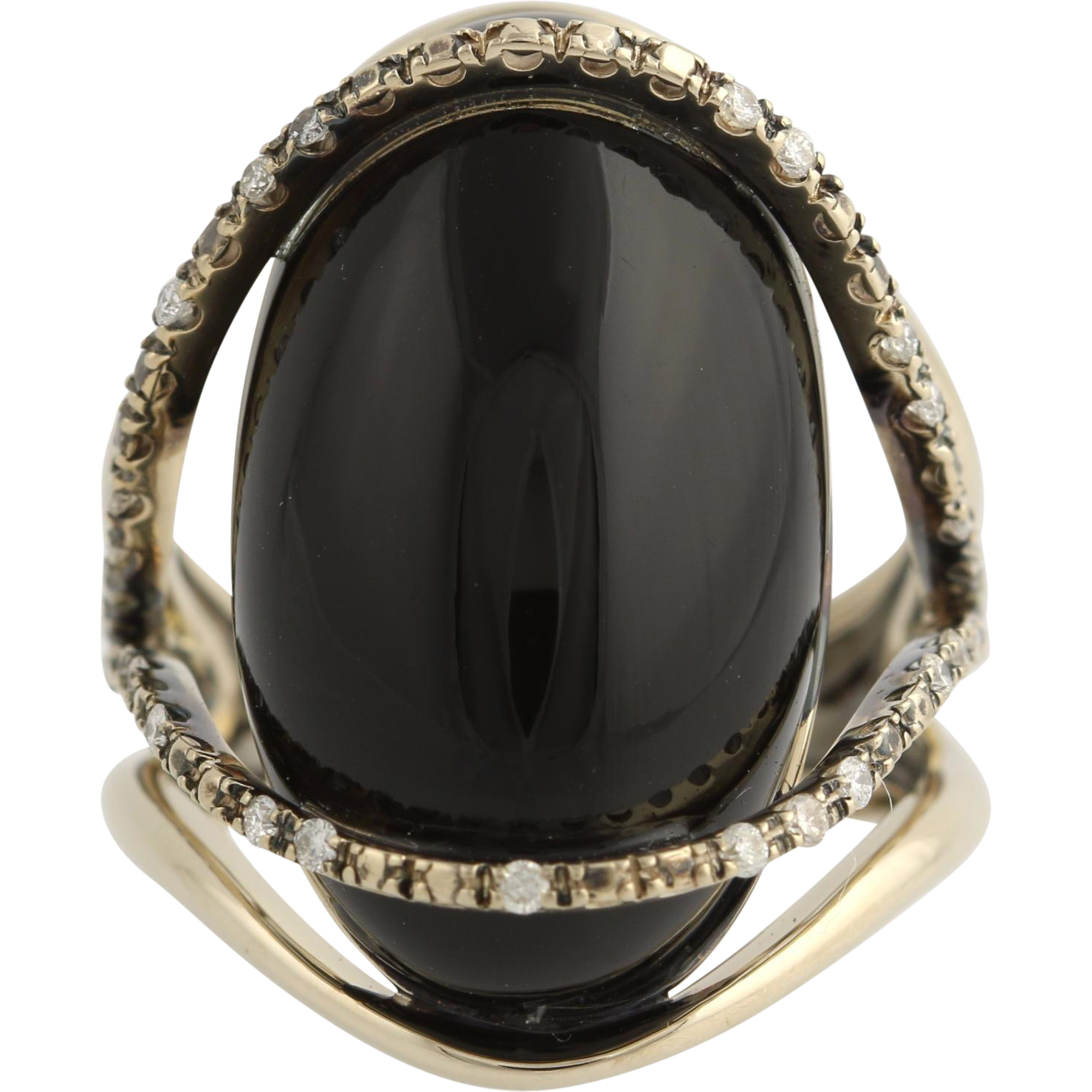 Nude Casual Collection Onyx & Diamond Ring - 18k White Gold .22ctw