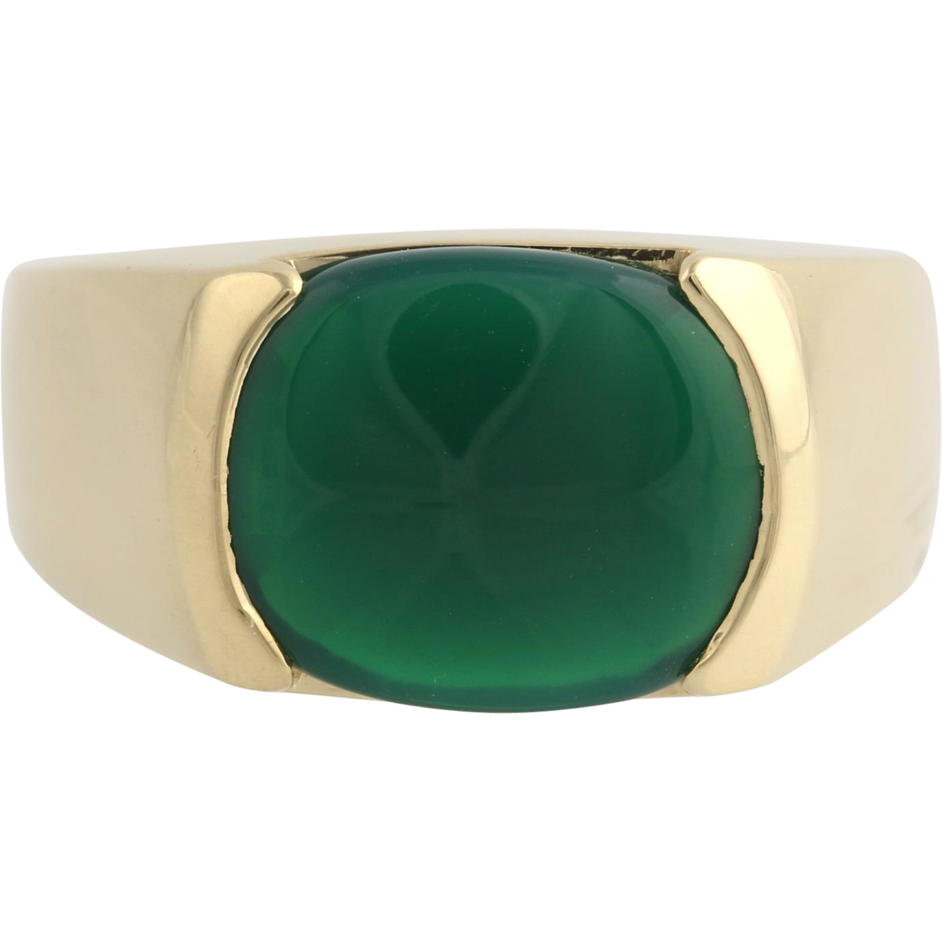 Men's Green Chalcedony Ring - 14k Yellow Gold Solitaire Genuine Polished