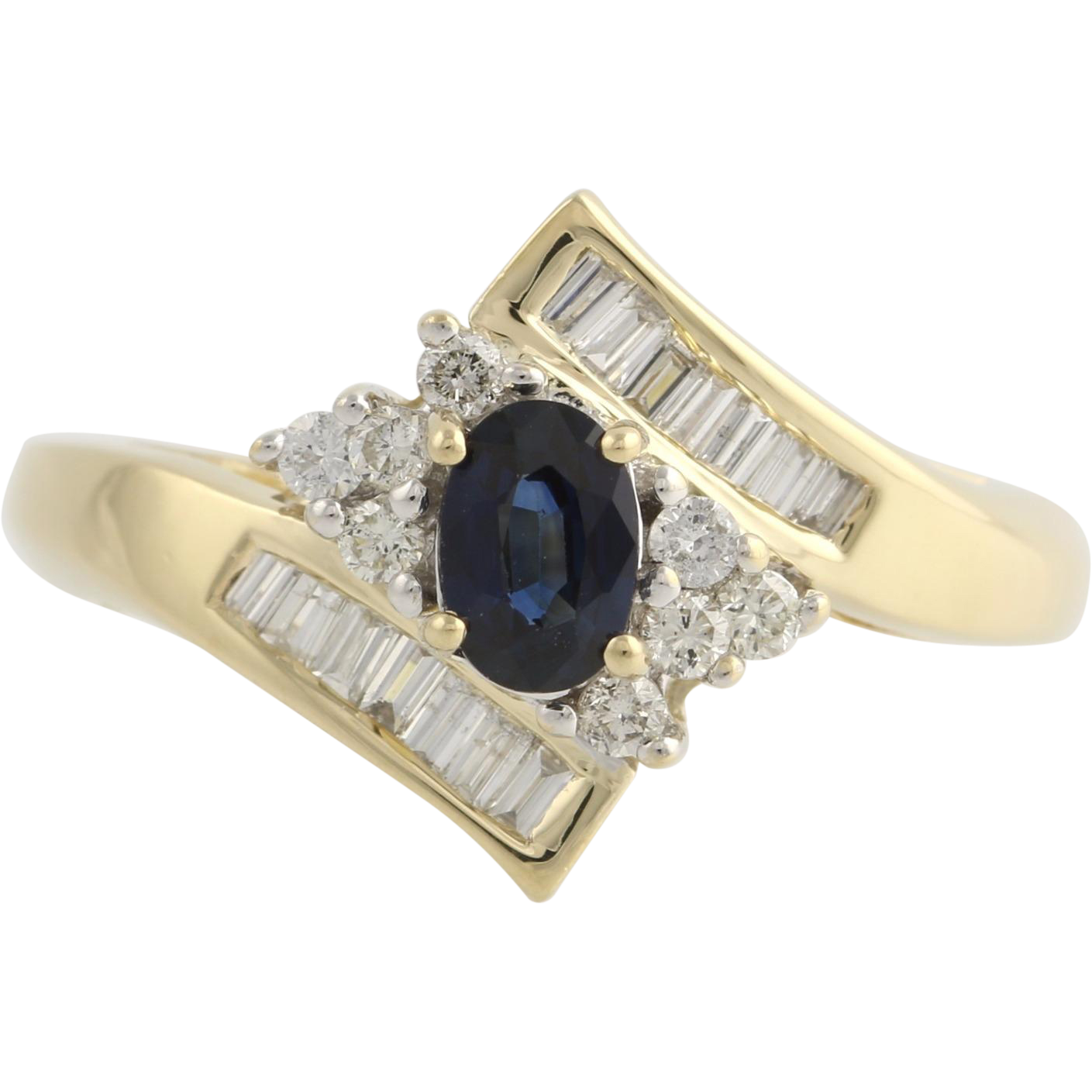 Sapphire & Diamond Bypass Cocktail Ring - 14k Yellow Gold Genuine Women's .82ctw