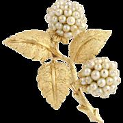 Cultured Pearl Hydrangea Brooch - 18k Yellow Gold Fine Estate High Karat June