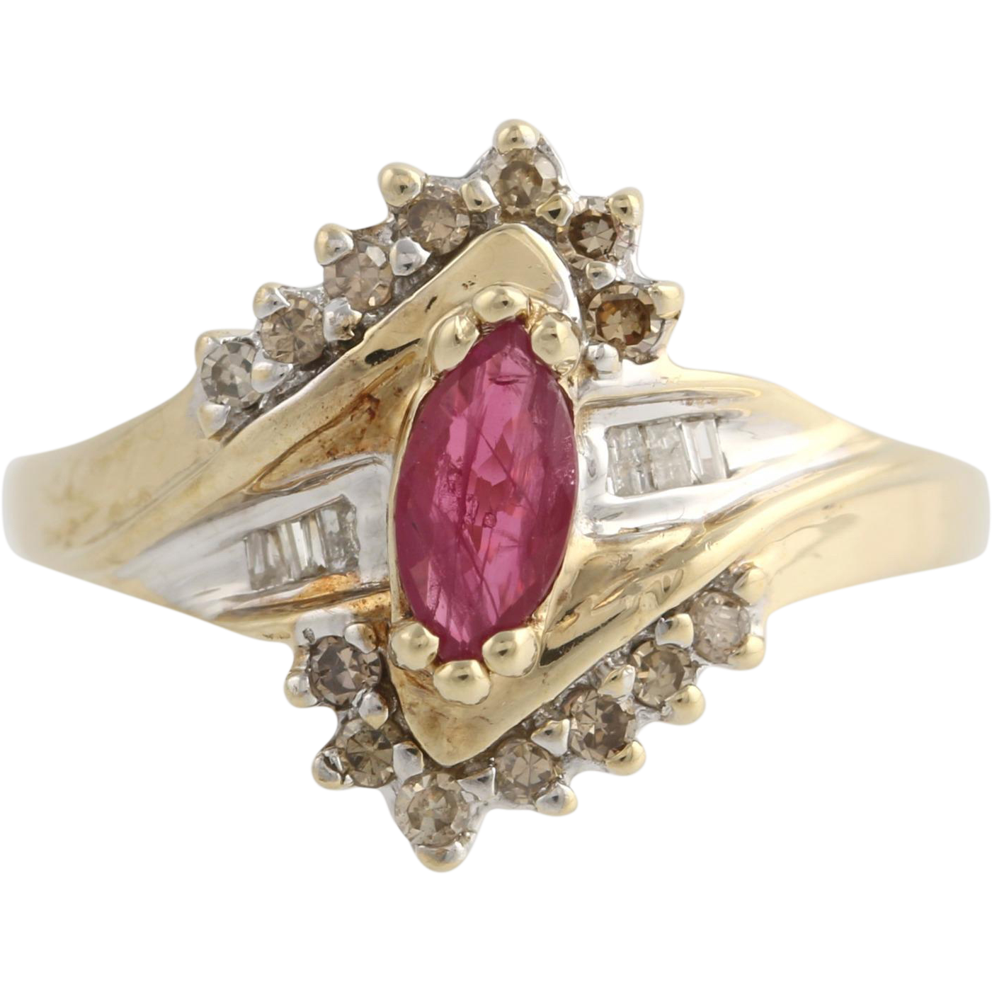 Ruby & Diamond Cocktail Bypass Ring - 10k Yellow and White Gold 7 Genuine .67ctw