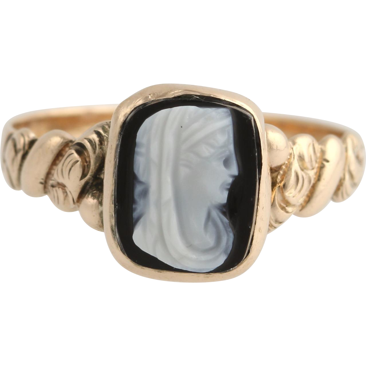 Victorian Carved Banded Agate Cameo Ring - 12k Yellow Gold Size 6 Polished
