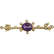 Victorian Brooch Pin Amethyst & Seed Pearl - 15k Yellow Gold Vintage Genuine