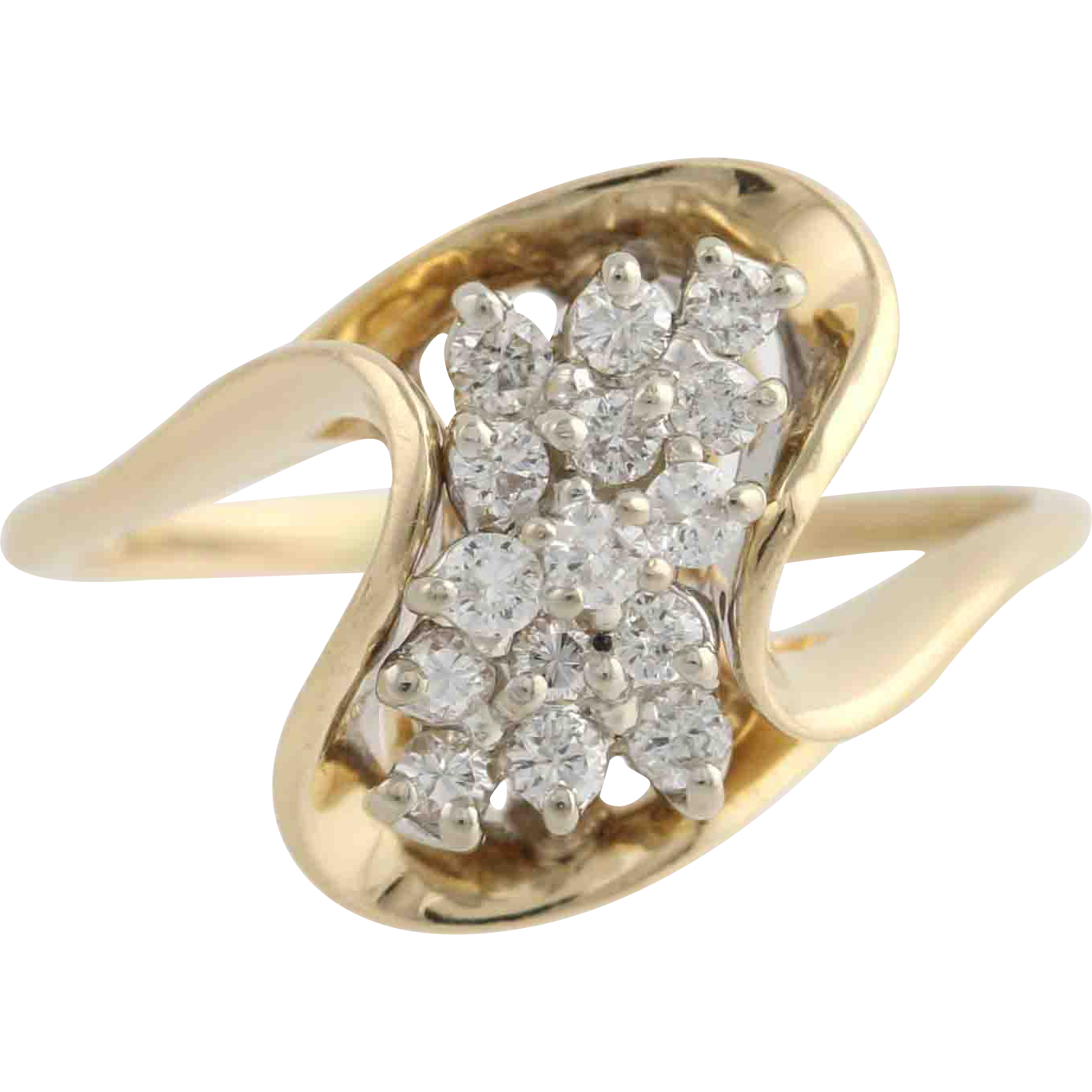 Curved Diamond Cluster Ring - 14k Yellow Gold Cocktail Swoop Bypass .37ctw