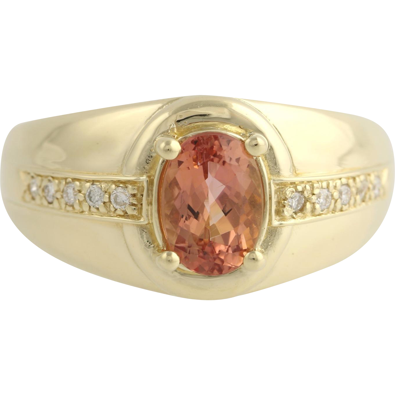 Imperial Topaz & Diamond Cocktail Ring - 14k Yellow Gold Oval Genuine 1.75ctw