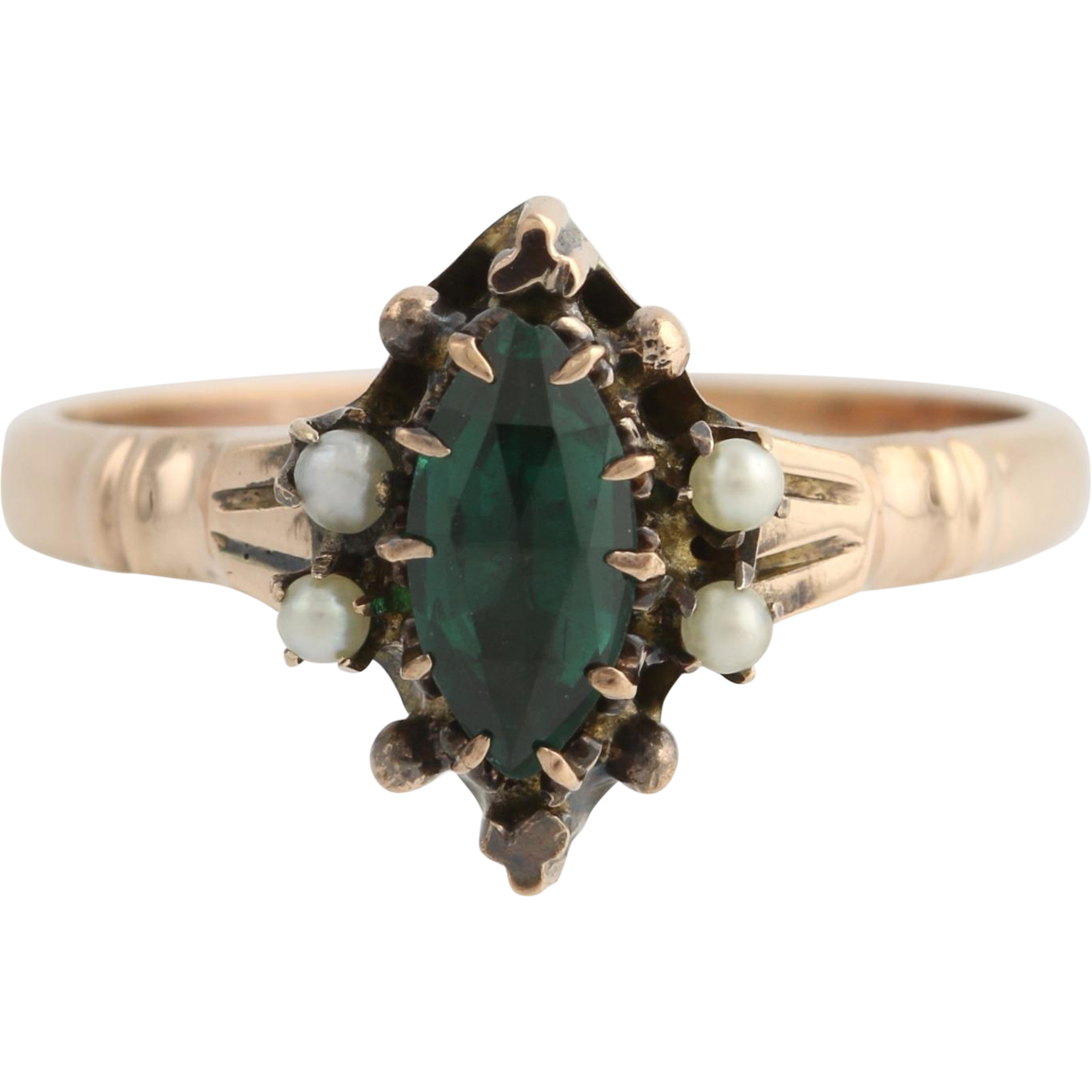 Victorian Green Ring 10k Yellow Gold Vintage Seed Pearls Garnet & Glass Doublet