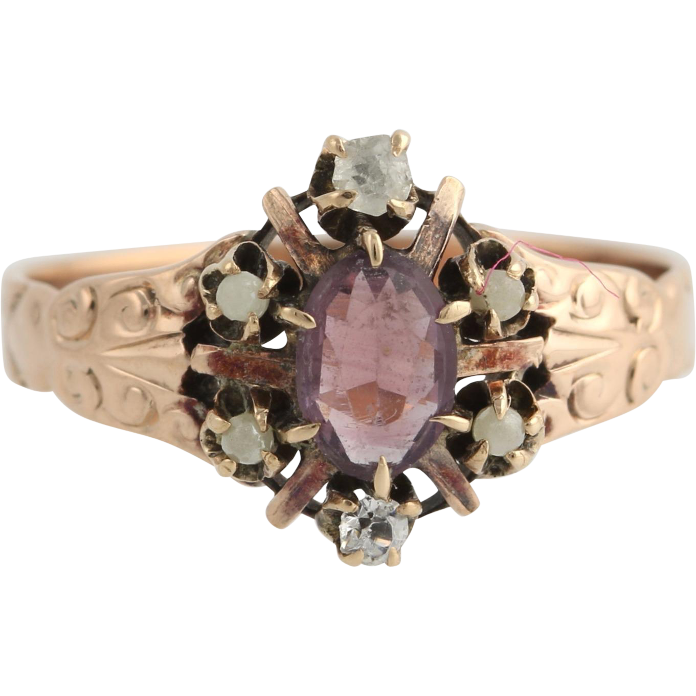 Victorian Purple Glass & Seed Pearl Ring - 10k Yellow Gold Oval Halo Women's