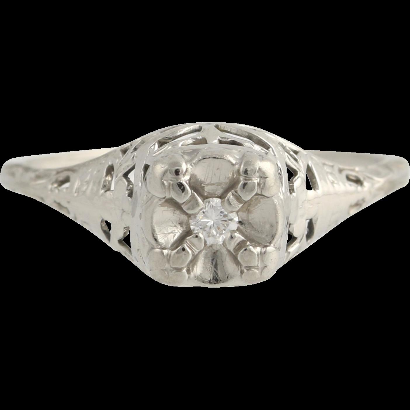 Art Deco Diamond Engagement Ring- 18k White Gold Size 5 1/2 Genuine .03ctw