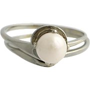 Cultured Pearl Engagement Ring & Wedding Band Set- 18k White Gold Size 4 3/4 - 5 L2978