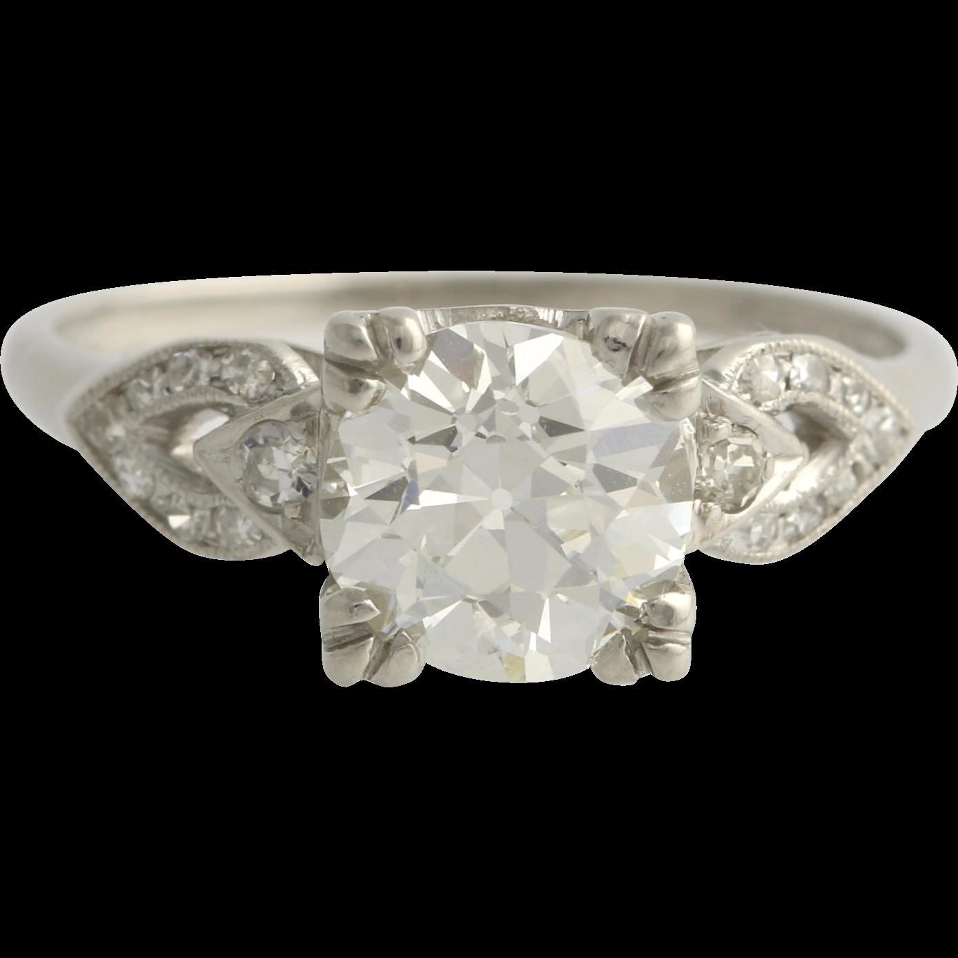 Art Deco Diamond Engagement Ring - 900 Platinum GIA Cert VVS2 Round 2.03ctw