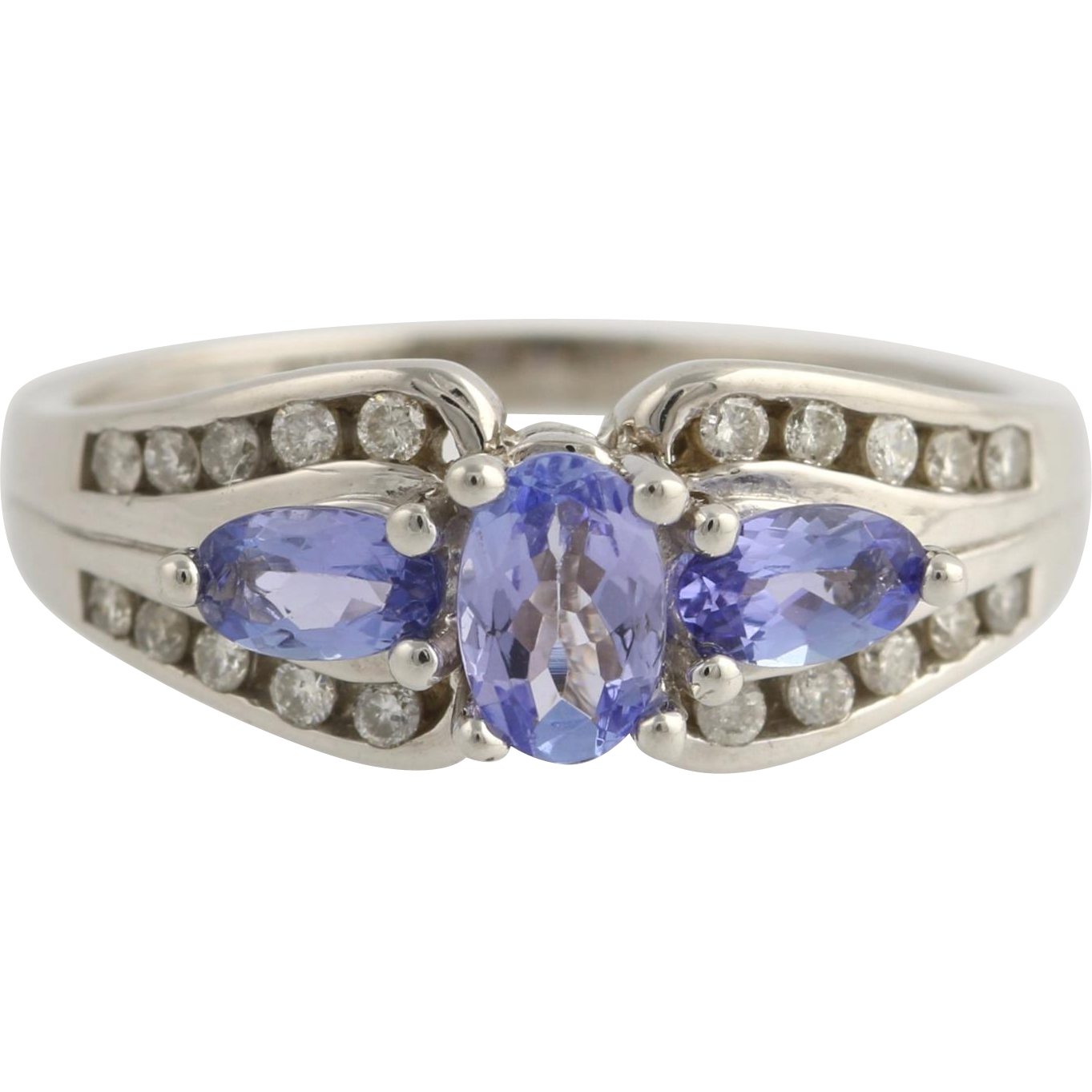 Tanzanite & Diamond Cocktail Ring - 14k White Gold Genuine Women's 1.13ctw