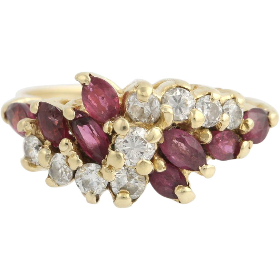 Ruby & Diamond Cocktail Ring - 14k Yellow Gold Women's 5 3/4 - 6 Genuine 1.11ctw