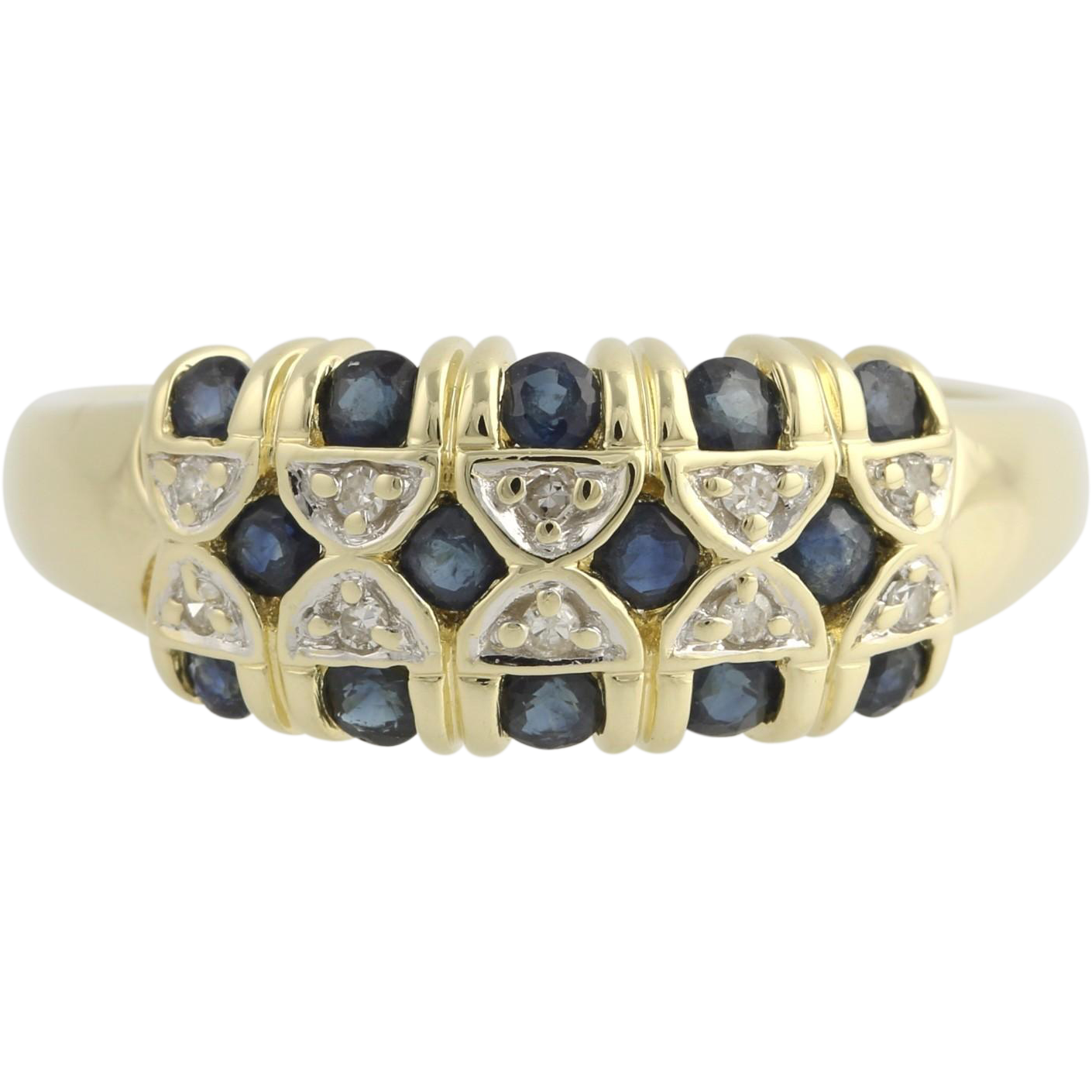 Sapphire and Diamond Cocktail Ring- 14k Yellow & White Gold September Fine 1.30ctw