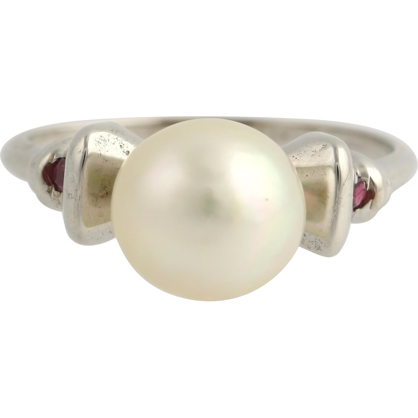 Cultured Pearl & Ruby Ring - 18k White Gold Women's 6 June Gift Genuine .06ctw