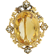 Edwardian Glass & Seed Pearl Brooch - 14k Yellow Gold Women's Antique Pin