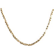 "Art Deco Modified Cable Chain Necklace 25 1/4"" - 14k Yellow Gold Ribbed Vintage"