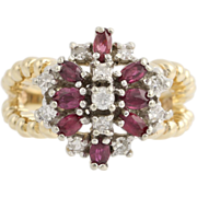 Ruby and Diamond Cocktail Ring - 14k Yellow & White Gold Women's Flower Two-tone