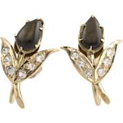 Vintage Floral Sapphire Earrings - 10k Yellow Gold Non-Pierced Genuine 1.80ctw