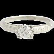 Art Deco Engagement Ring Vintage Diamond  - 900 Platinum Natural Solitaire .50ct Unique Engagement Ring