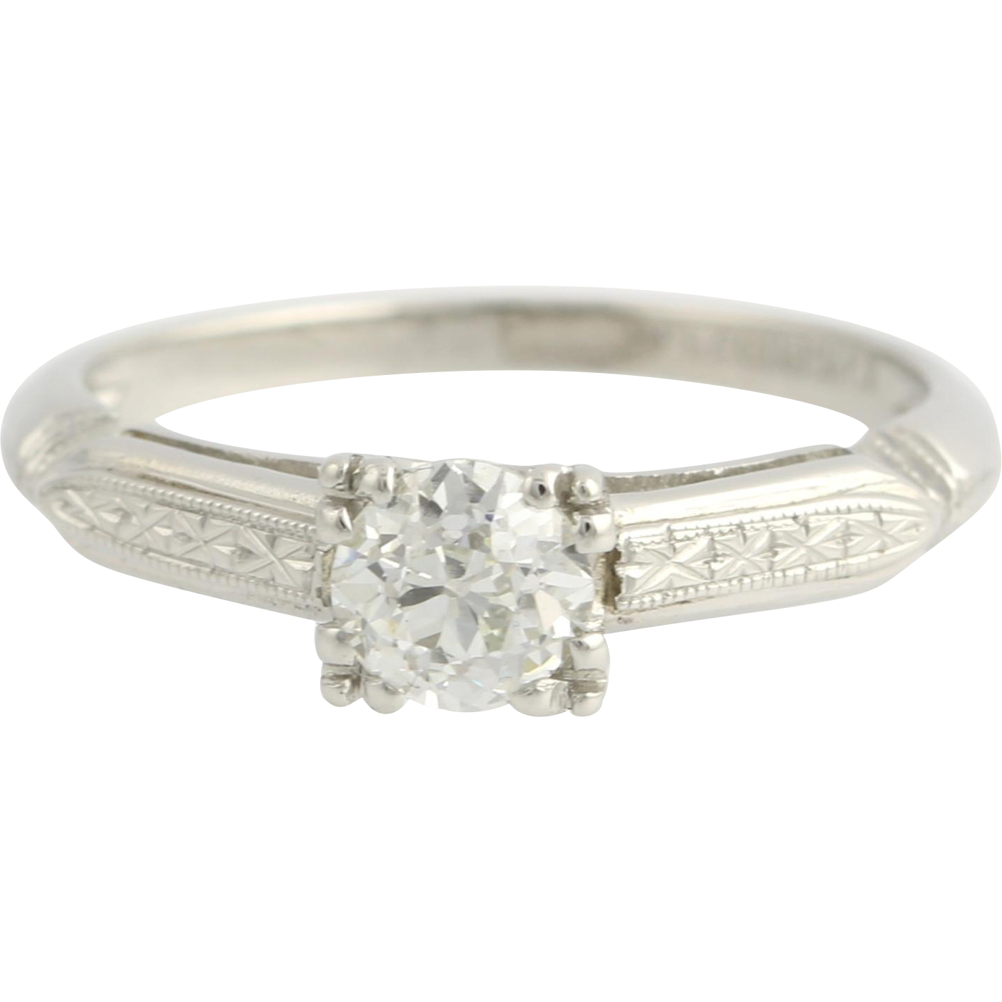 Art Deco Engagement Ring Vintage Diamond  - 900 Platinum Natural Solitaire .50ct Unique Engagement Ring