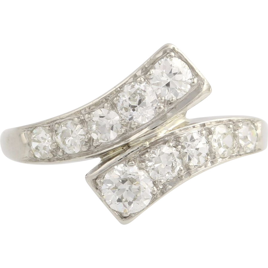 Art Deco Diamond Bypass Ring - Platinum Women's Old European c.1920's - 1930's