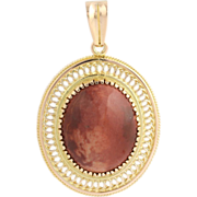 Plume Jasper Pendant - 14k Yellow Gold Oval Genuine Gemstone Women's