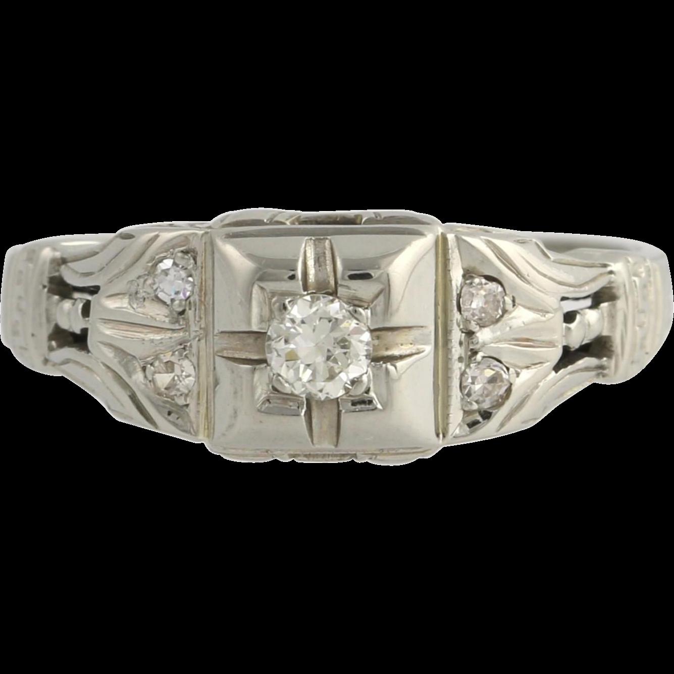 Art Deco Diamond Engagement Ring - 18k White Gold European Cut Genuine .16ctw