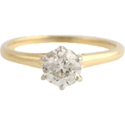 Edwardian Diamond Engagement Ring - 18k & Plat .81ctw European Cut Solitaire