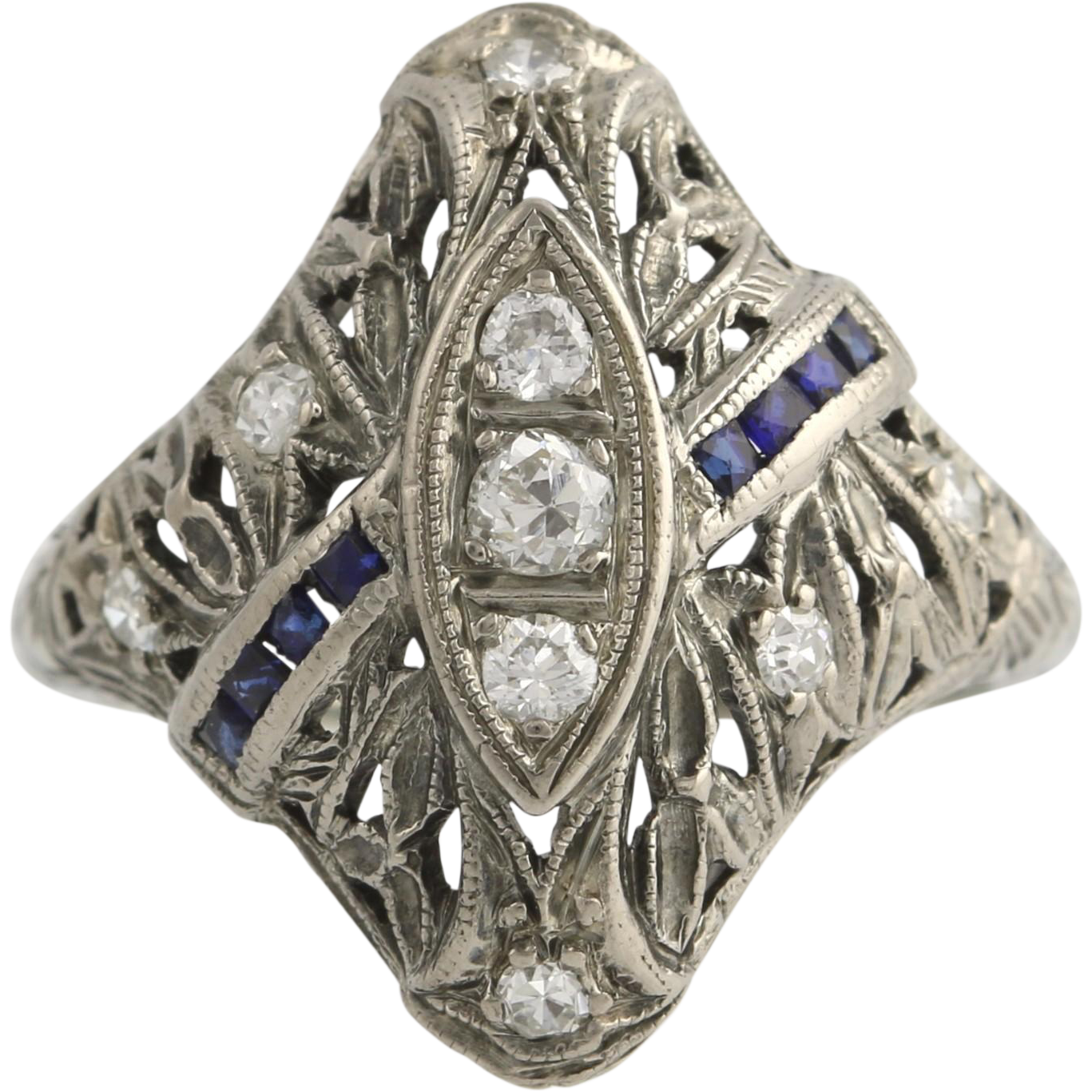 Art Deco Diamond & Syn Sapphire Ring - 18k White Gold .56ctw Cocktail Vintage