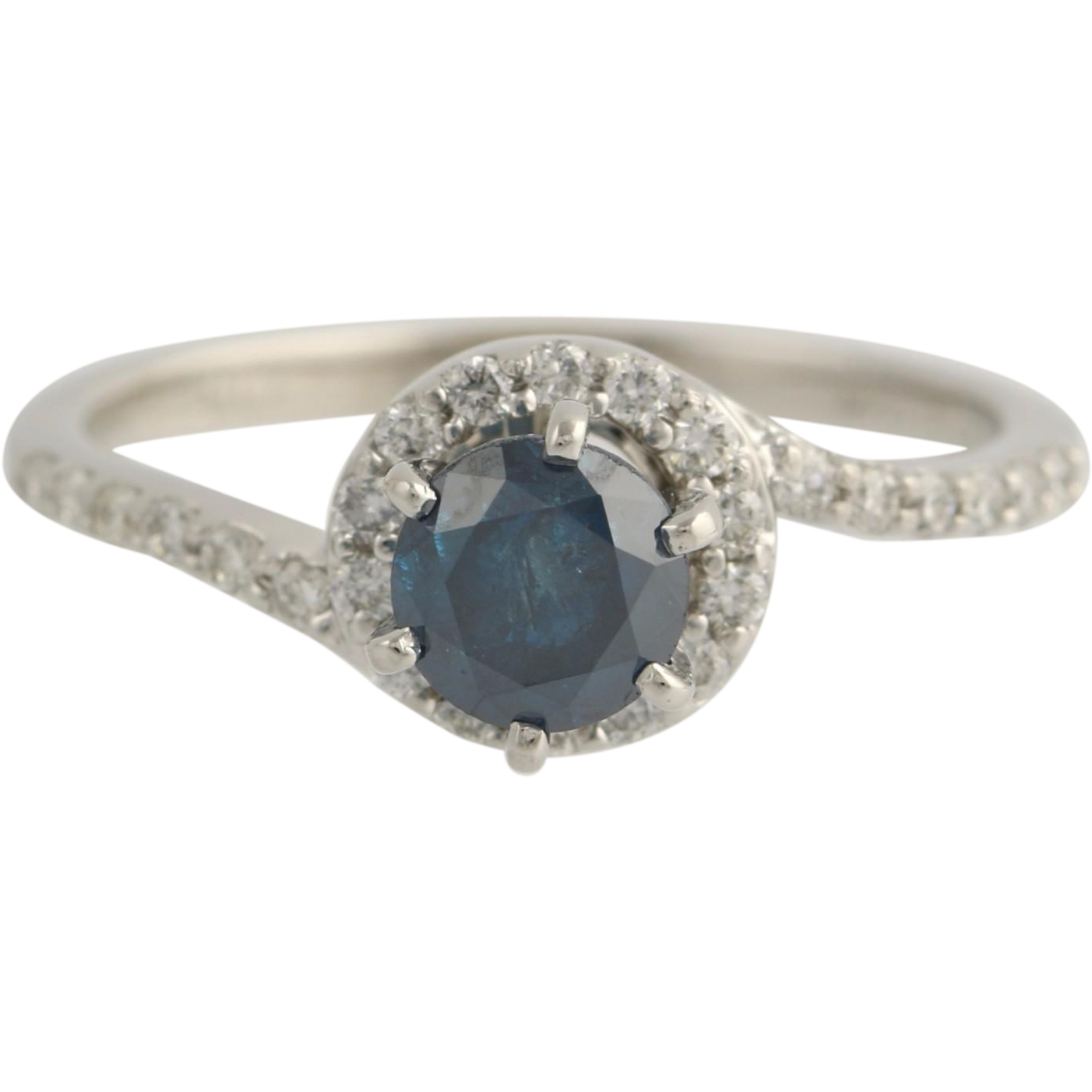 Blue Diamond Engagement Ring Bypass Halo White Accents - 14k White Gold